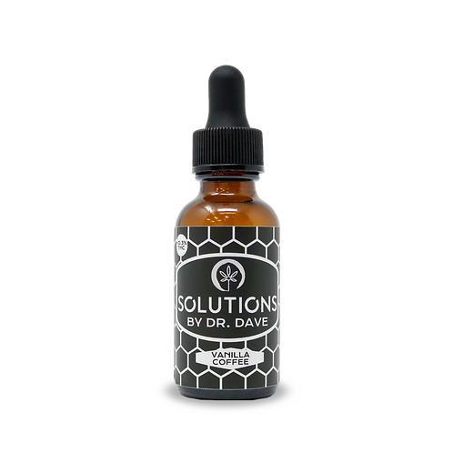 bottle of Solutions by Doctor Dave's vanilla and coffee flavored CBD tincture