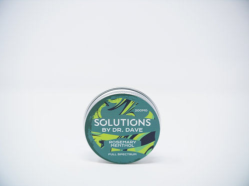 Tin of CBD balm with a green and chartreuse label