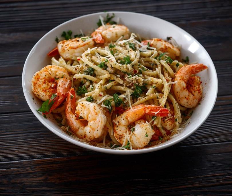 Asian Inspired Garlic Noodles & Shrimp