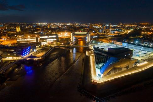 The Deep and Hull waterfront at night