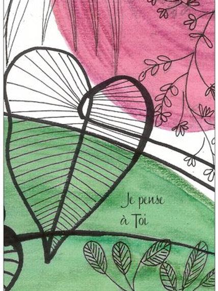 """Carte postale """"Un ♥ offert - je pense à toi"""""""