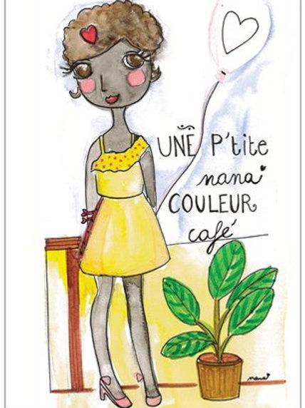 """Carte postale """"une pt'ite nana couleur café"""""""
