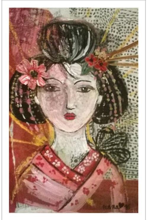 """Affiche """"La Geisha au papillon"""