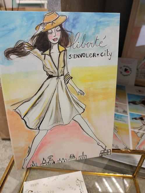 "Carte postale papier naturel ""Liberté"""