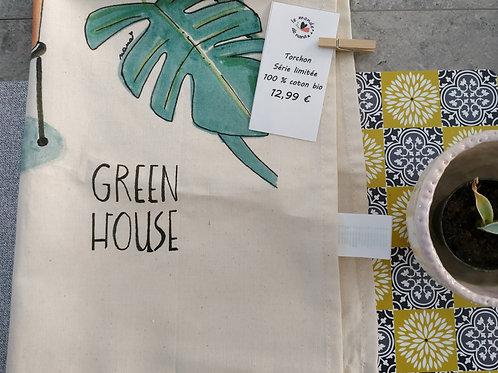 """Torchon de cuisine """"Green house - fais moi une fleur"""""""