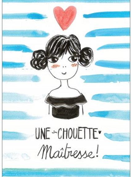 "Carte postale ""Une chouette maîtresse"""