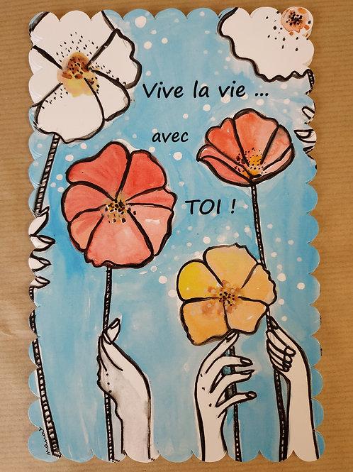 """Carte postale à bords festonnés """"Vive la vie avec... TOI !"""""""