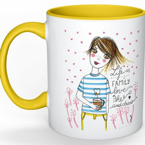 "Mug ""Life is family- love- thé and draw"""