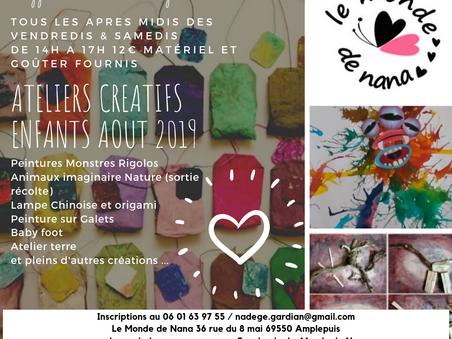 Ateliers créatifs enfants août 2019