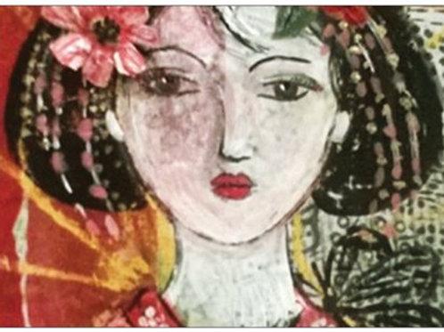 "Carte postale ""La geisha au Papillon"""