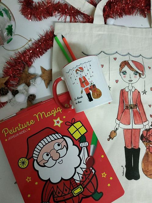 Le kit de La Mère Noël /1 mug-1 sac-1 livre d'activité & 1 atelier créatif