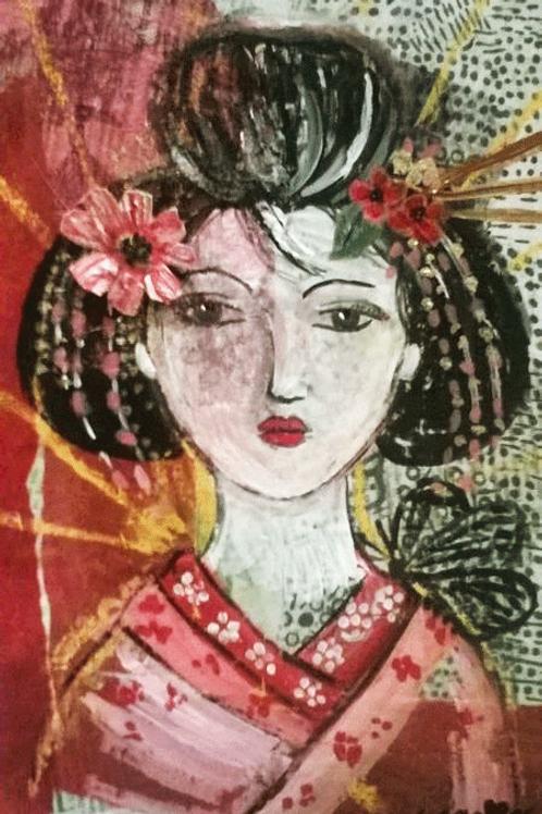"""Tableau """"La Geisha au papillon"""""""