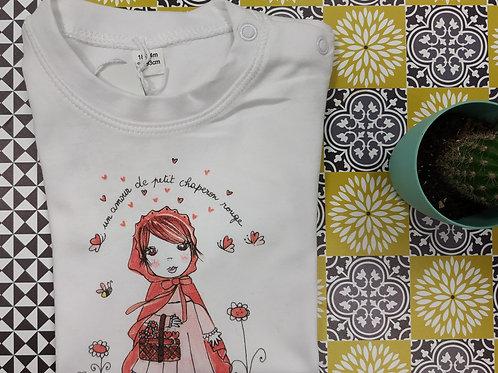 """Tee shirt Bébé blanc """"Un amour de petit chaperon rouge"""""""