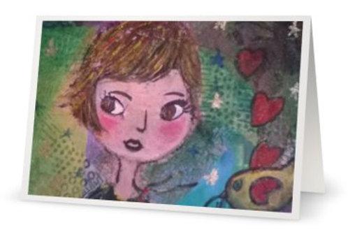 """Carte postale double """"Amélie et Nino"""" son p'tit piaf"""