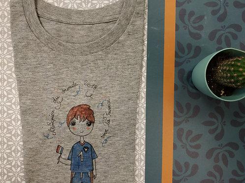"Tee shirt enfant gris ou blanc ""Champion du Monde"""