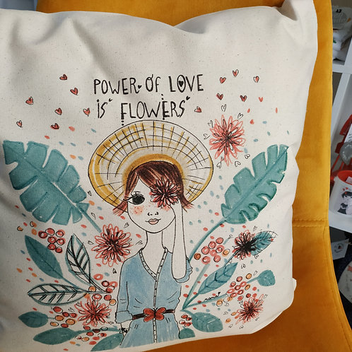 """Coussin """"Power of love is flowers"""""""