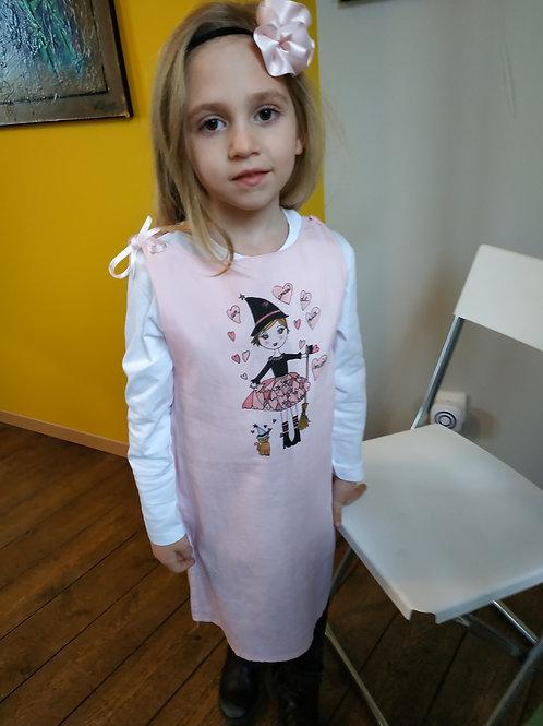 """Robe tunique rose 5/6 ans enfant """"Un amour de petite sorcière !"""""""