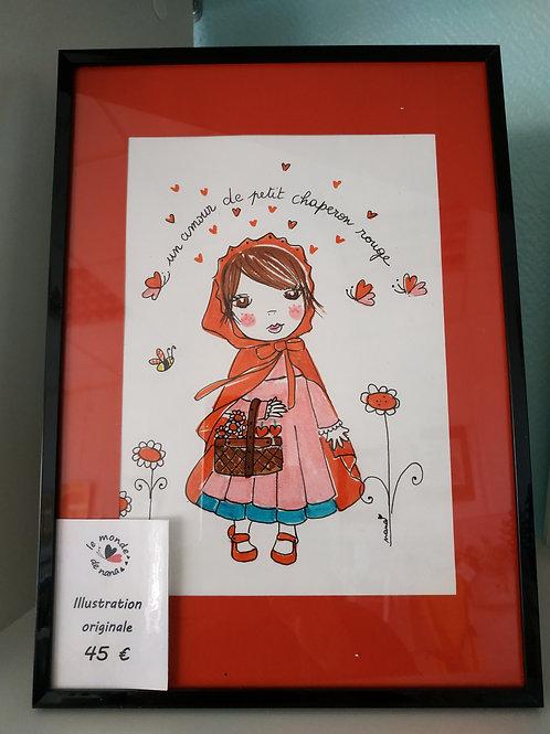 """Illustration originale """"Un amour de petit chaperon rouge"""""""