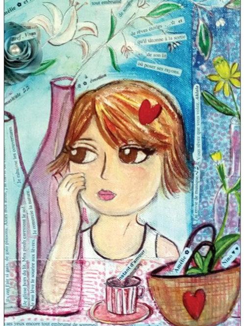 """Carte postale """"Amélie, les lys et son petit marcel"""" ✿"""