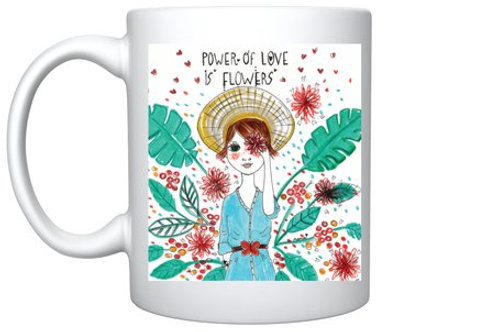 "Mug ""Power of love is flowers"""