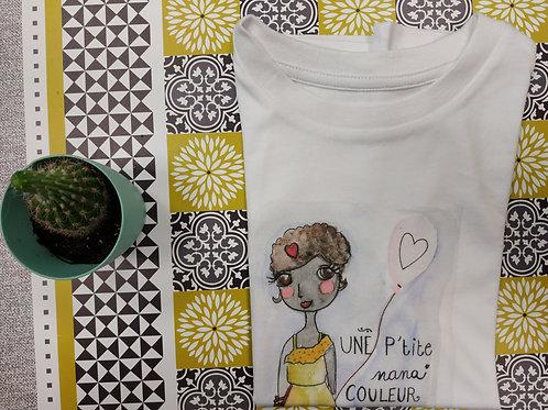 """Tee shirt enfant """"Une p'tite nana couleur café"""""""