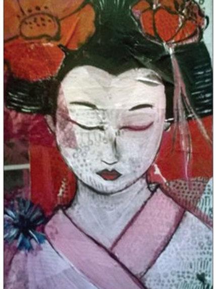 "Carte postale ""La geisha endormie"""
