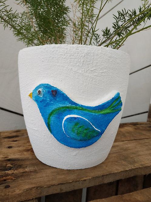 """Cache pot/ pot """"Oiseau bleu"""" - collection Les oiseaux"""