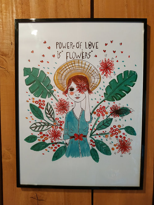 """Affiche """"Power of love is flowers"""""""