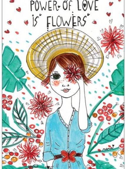 "Carte postale ""Power of love is flowers"""