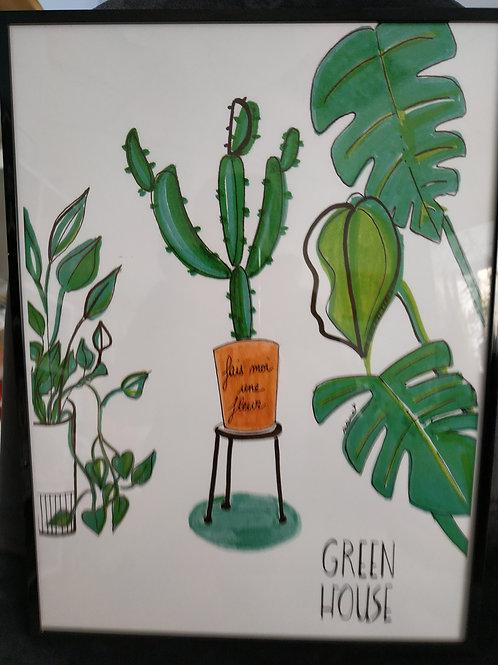 """Affiche """"Green house - fais moi une fleur"""""""