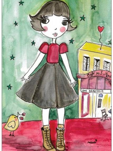 """Carte postale """"Amélie au coeur d'or""""♥"""