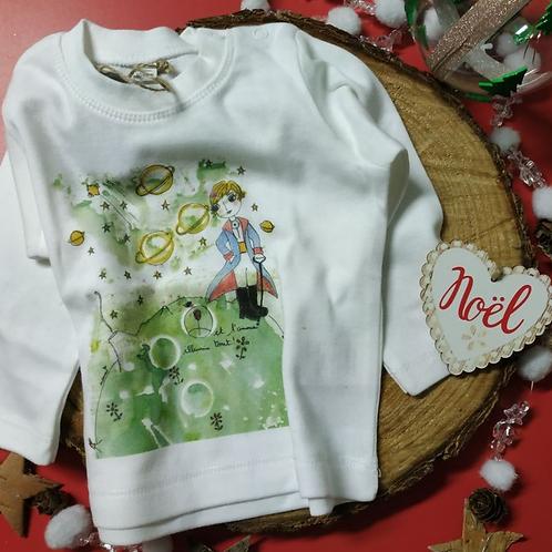 """Tee shirt bébé manches longues """"Et l'amour illumine tout-Le petit prince"""""""