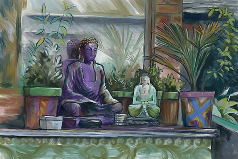 Buddah garden, in the style of Cezanne