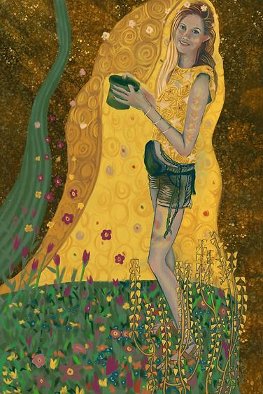 Frances in the style of Gustav Klimt