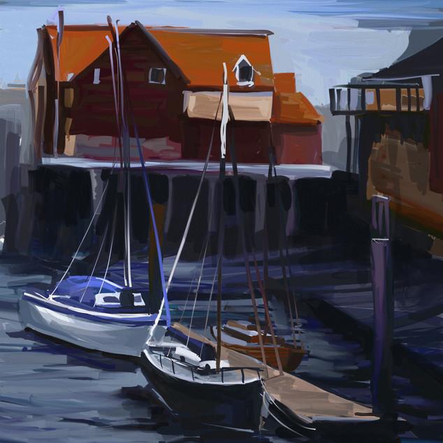 Boats at dusk, Whitby
