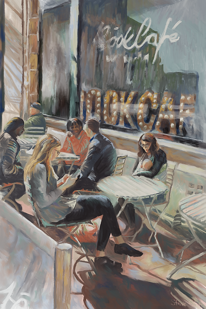 The Book Cafe, in the style of Renoir