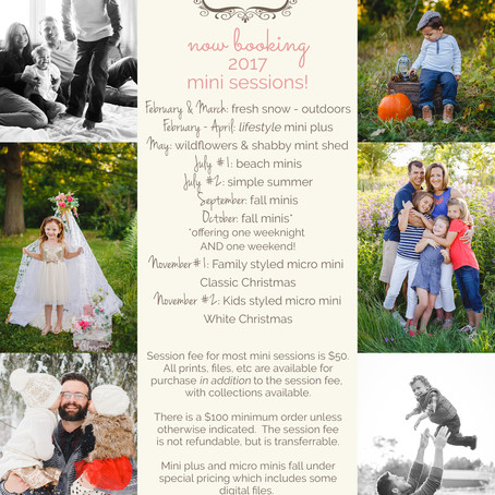 Now booking 2017 mini sessions!