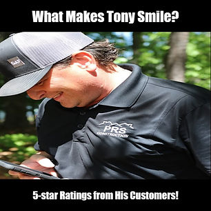 Tony R. one of our certified PRS Construction roofing inspectors looking at a 5-star review from a customer