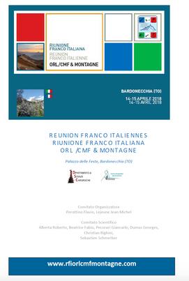 RIUNIONE FRANCO-ITALIANA ORL/CMF MONTAGNE  BARDONECCHIA 14-15 APRILE 2018