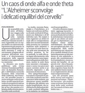 """Un caos di onde alfa e onde theta""""L'Alzheimer sconvolge i delicati equilibri del cervello"""""""