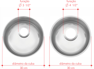 válvula de escoamento pias; furação cubas
