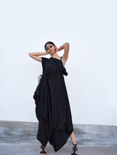 Black Zero-waste Evening Dress