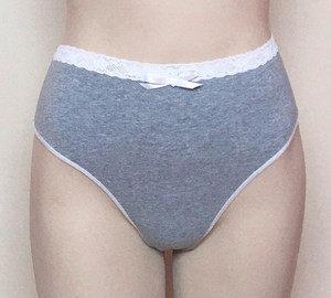 High waisted thong (lace trim version)
