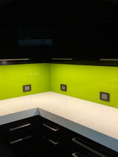 Citron Green on Black Cabinetry
