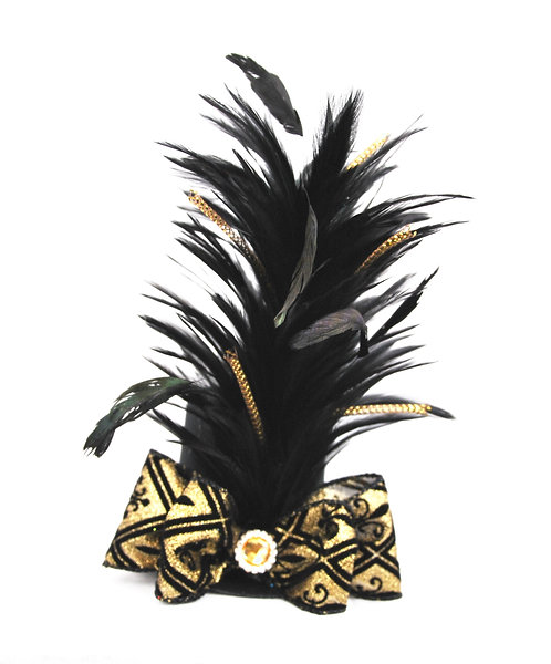 Black and Gold Felt Harlequin Mini Top Hat