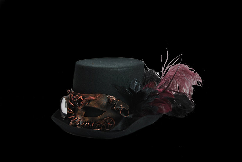 Top Hat with Wine Accents and Optical Mask