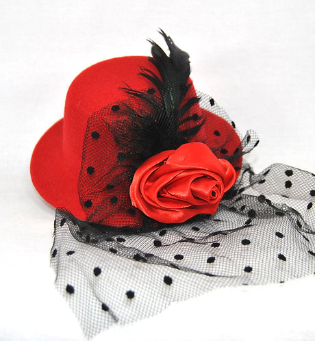 Rose Veil Mini Hat - Red