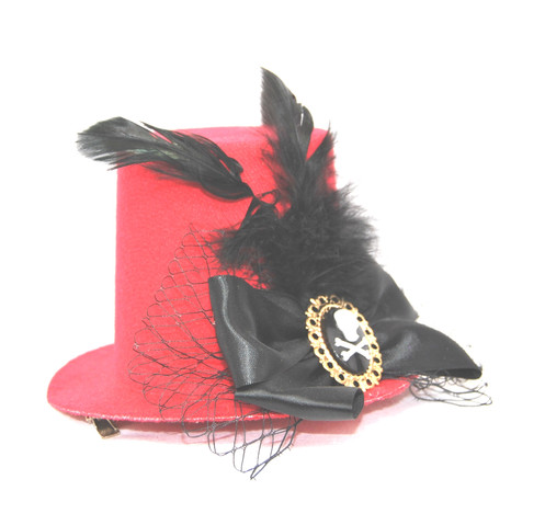 047b0247 5 Inch Red Mini Top Hat with Jolly Roger - Skull Cameo, Ribbons and Feathers