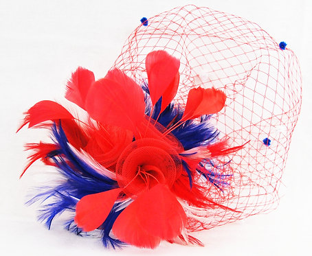 Patriotic Crin Flower Veil Fascinator