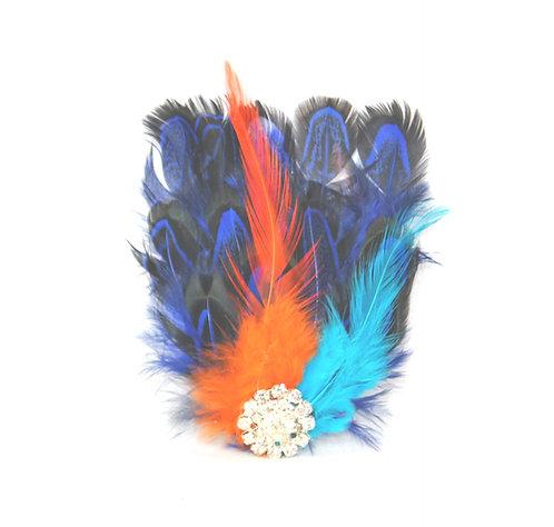 Blue Pheasant Feather Pad Hairclip